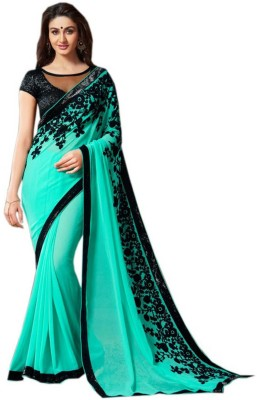 Om Sai Laxmi Creation Solid, Embriodered, Self Design Bollywood Georgette Sari