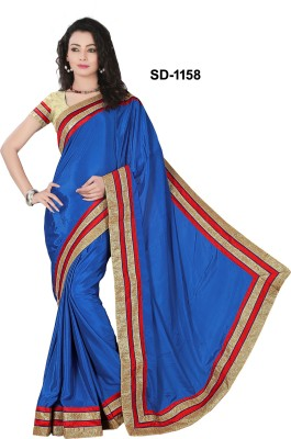 Silons Designer Plain Bollywood Synthetic Crepe Sari