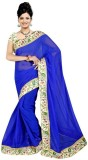 Raag Solid Bollywood Chiffon Saree (Blue...