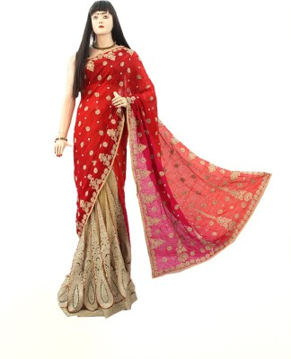 Dhaarona Style Boutique Embriodered, Self Design Fashion Pure Georgette, Net Sari