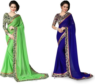Indianbeauty Printed Bollywood Chiffon Saree(Pack of 2, Blue, Light Green) at flipkart