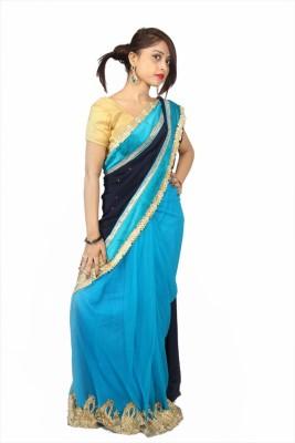 Creativz Hand Embriodered Lehenga Saree Net, Pure Georgette Sari