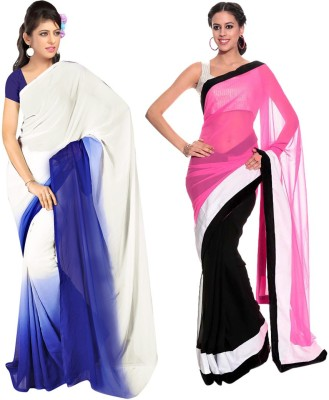 Nairiti Fashions Self Design Fashion Georgette, Chiffon Sari