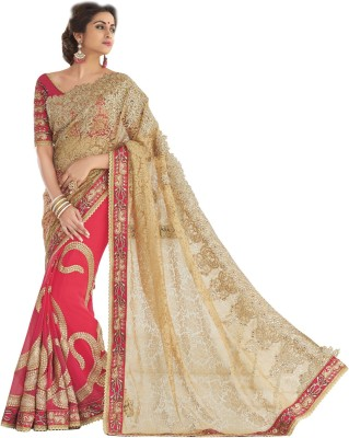Jasleen Fashion Embellished, Embriodered Fashion Pure Georgette, Lace, Brocade, Art Silk Sari