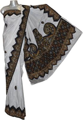 Kreasions Floral Print Kantha Handloom Silk Sari