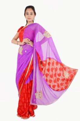 Vasundhara Lifestyle Embriodered Fashion Chiffon, Jacquard Sari