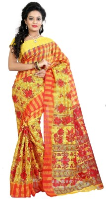 Needle Impression Printed Assam Silk Handloom Silk Sari(Red, Yellow)