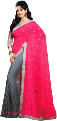 SUHRAD CREATION Plain Fashion Georgette Sari