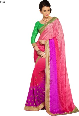 Allol Embriodered Fashion Synthetic Crepe Sari