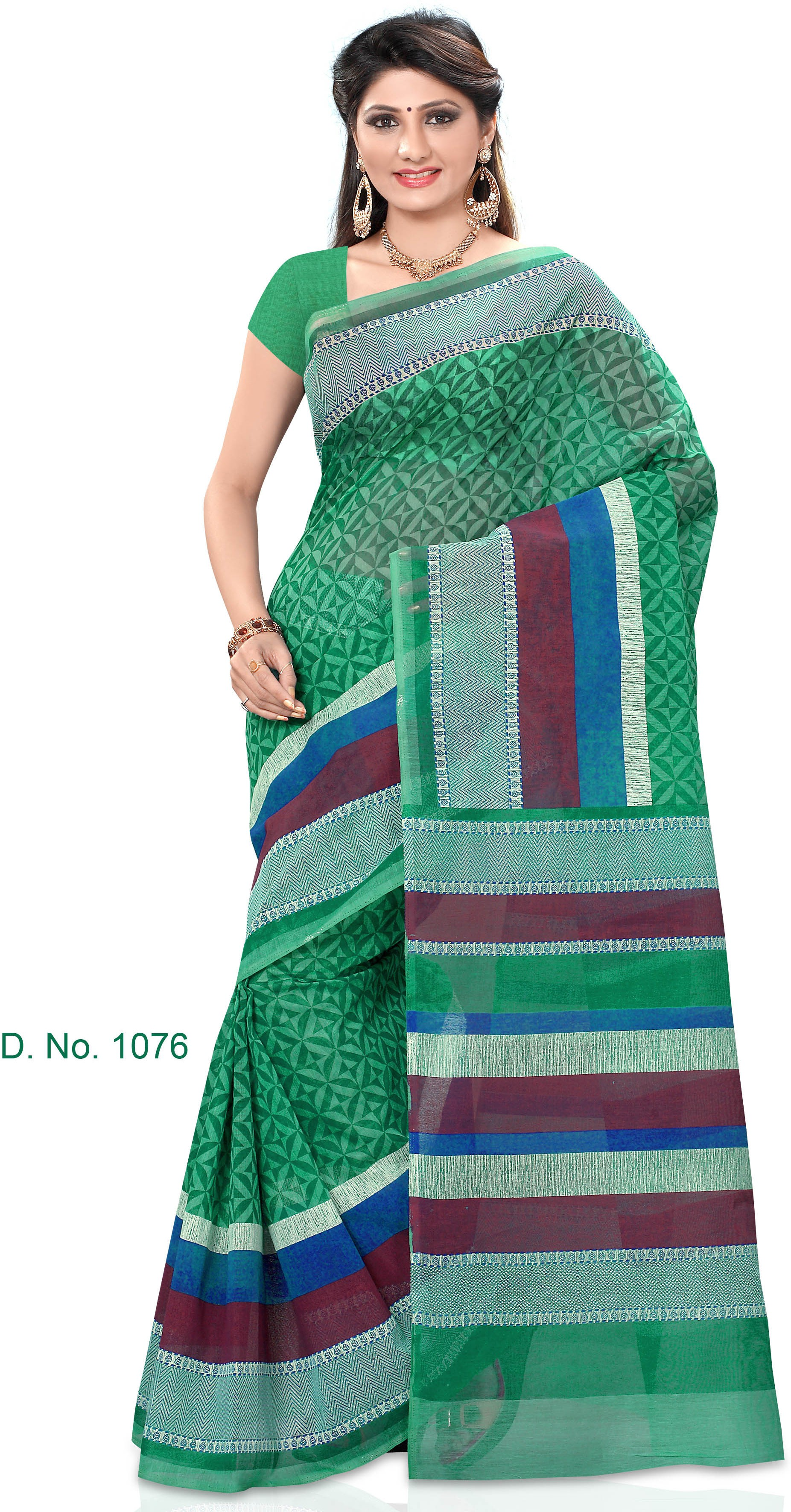 Indianbeauty Striped, Printed Fashion Cotton Sari