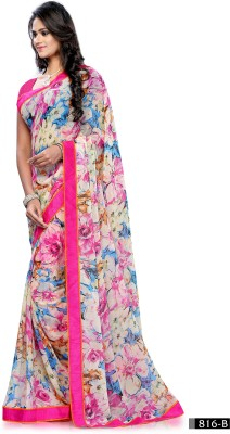 Craze N Demand Floral Print Fashion Chiffon Sari