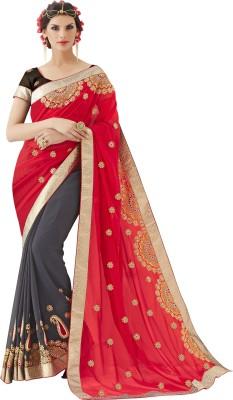 Khushali Self Design, Embriodered Fashion Georgette Sari
