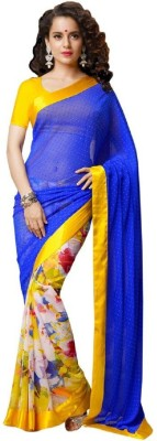 Manvar Enterprise Printed Bollywood Handloom Chiffon Sari