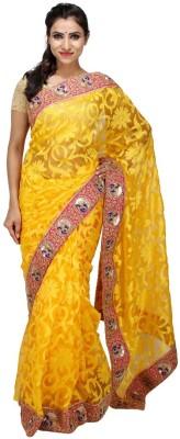 KALYANAM Floral Print Maheshwari Net Sari