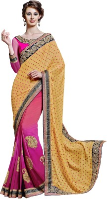 Jinaam Dress Polka Print, Embriodered Fashion Georgette, Chiffon Sari