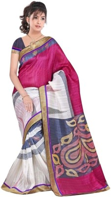 Crazyvilla Printed Bhagalpuri Art Silk Sari