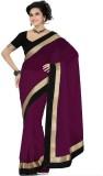 Navyou Plain Fashion Georgette Sari (Bla...