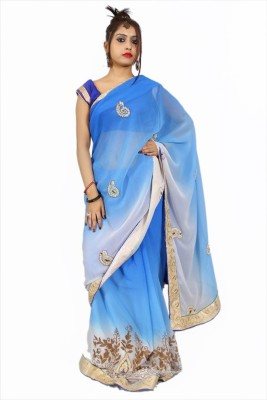 Creativz Hand Embriodered Bollywood Synthetic Sari