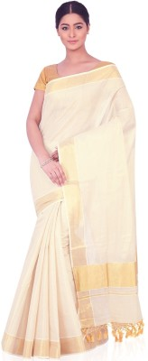 IndusDiva Plain Fashion Cotton Sari