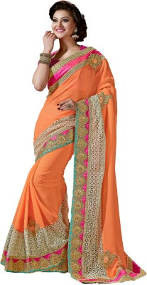 M.S.Retail Applique Bollywood Georgette, Chiffon Saree(Orange) at flipkart