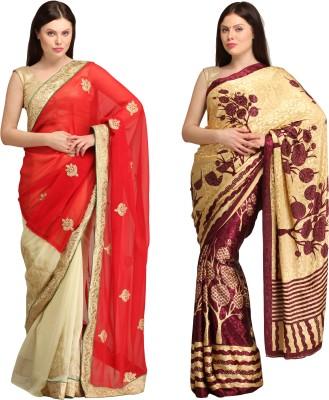 Skyline Trading Solid Daily Wear Chiffon, Jacquard Sari