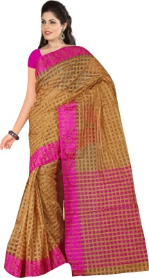 Kalva Checkered Chanderi Art Silk Sari