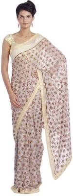 ShubhShilp Embriodered Phulkari Chiffon Sari