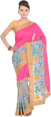 Kdc Sarees Embroidered Banarasi Handloom Tussar Silk Sari(Pink)