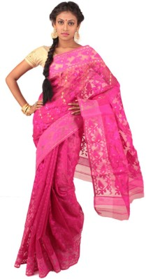 Rudrakshhh Embroidered Jamdani Handloom Cotton Saree(Pink) at flipkart