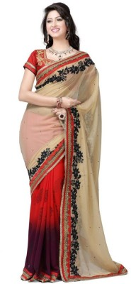 Krishna Embriodered Fashion Pure Chiffon Sari