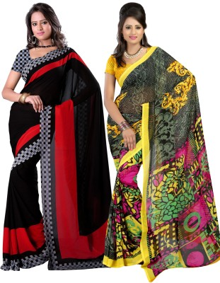Fabdeal Plain, Floral Print Daily Wear Georgette Sari