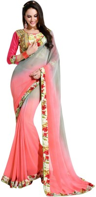 Shaily Printed Fashion Georgette Saree(Pink) at flipkart
