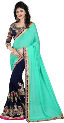 Shoppershopee Embriodered Bollywood Georgette Sari