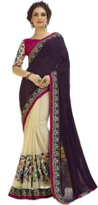 Belletouch Embriodered Fashion Georgette, Silk Sari