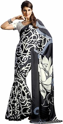 Royal Desi Apparel Graphic Print Fashion Crepe Sari