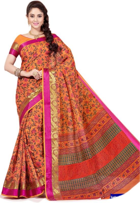 Aarti Apparels Printed Gadwal Cotton Saree(Orange)