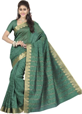 Rani Saahiba Self Design Banarasi Art Silk, Jacquard Sari(Green)