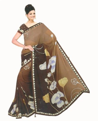 Crazy Fashion Deal Printed Daily Wear Synthetic Fabric Sari