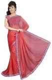 GSI Solid Daily Wear Viscose Saree (Red)