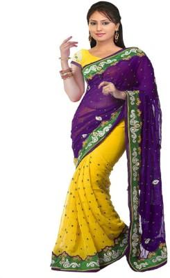 Wowcreation Embriodered Bollywood Handloom Chiffon, Georgette Sari