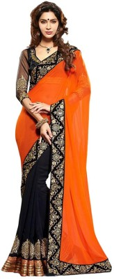 Krazzy2buy Solid Fashion Handloom Georgette Sari