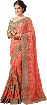 M.S.Retail Embroidered Bollywood Net Saree(Pink) at flipkart