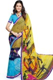 PSHOPEE Printed Fashion Chiffon Saree (L...