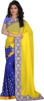 STARLIGHT CLUB Embroidered Fashion Georgette Sari(Yellow)