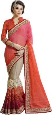 Rajhans Fashion Embriodered Fashion Georgette, Net Sari