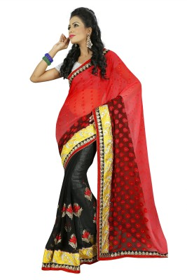 Janya Self Design Kantha Georgette Sari
