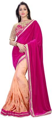 RIDDHIsiddhi Plain, Embriodered Fashion Velvet, Georgette Sari
