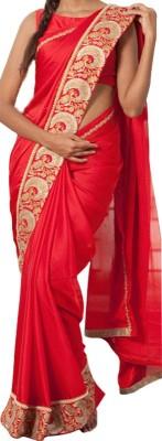 Fabron Embriodered Bollywood Georgette, Raw Silk Sari
