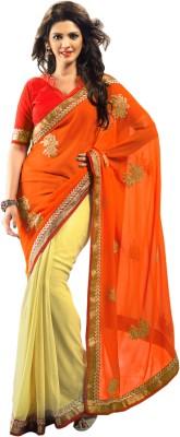 Admyrin Solid Fashion Chiffon, Georgette Sari