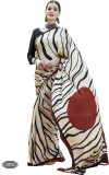 H Raj Striped Fashion Crepe Saree (Beige...
